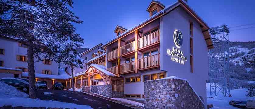 Grand Aigle hotel night exterior